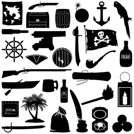 Vector Black Pirate Pictogram isolated on white background