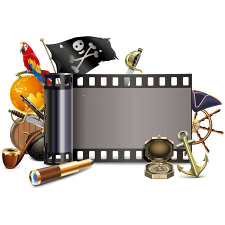 Vector Pirate Cinema Concept isolated on white background Ilustração