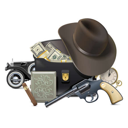 Vector Gangster Concept with Money isolated on white background