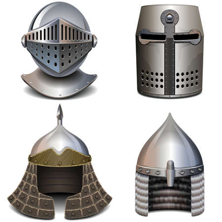 Vector Knight Helmet Set isolated on white background Ilustração