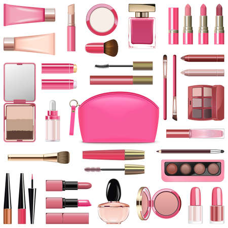Vector Makeup Cosmetics with Rose Cosmetic Bag isolated on white background