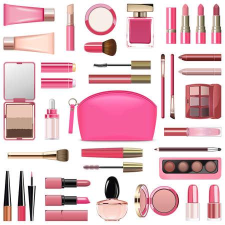 Vektor-Make-up-Kosmetik mit Rose Cosmetic Bag isoliert auf weißem Hintergrund