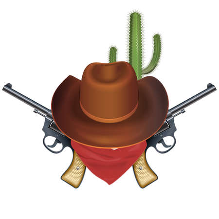 Vector Cowboy Bandit Concept isolated on white background Banco de Imagens - 150351215