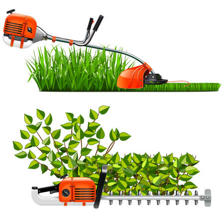Vector Mowing Lawns and Bushes isolated on white background
