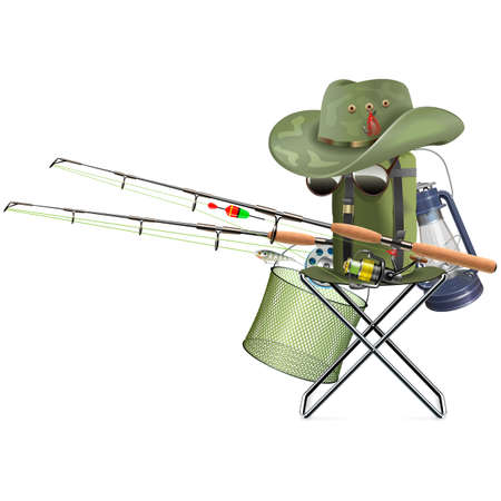 Vector Fishing Tackle with Folding Chair isolated on white background Banco de Imagens - 155330202