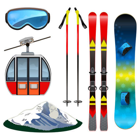 Vector Ski Resort Icons isolated on white background
