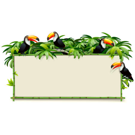 Vector Green Bamboo Board with Toucans isolated on white background Ilustração