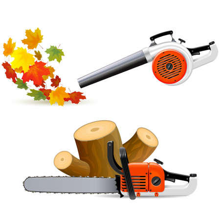 Vector Sawing Down Trees and Sweeping Leaves isolated on white background