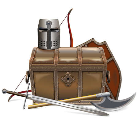 Vector Medieval Chest with Knight Armor isolated on white background Ilustração