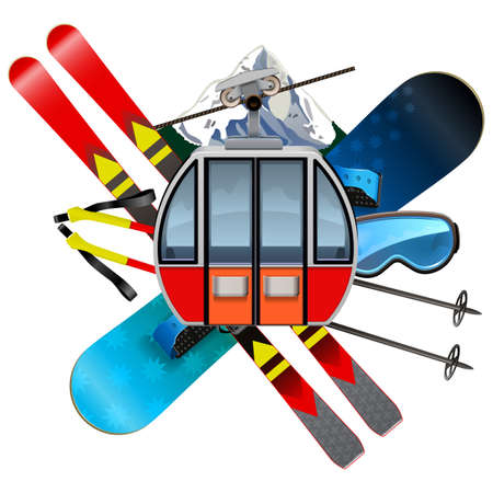 Vector Ski Resort Concept isolated on white background Ilustração