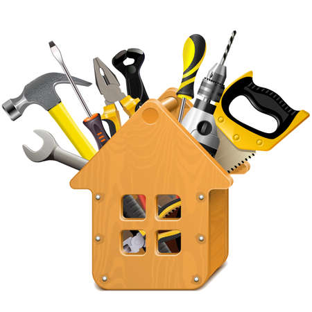 Vector Wooden House with Tools isolated on white background Ilustração