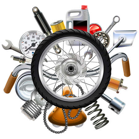 Vector Motorcycle Parts Concept with Wheel isolated on white background