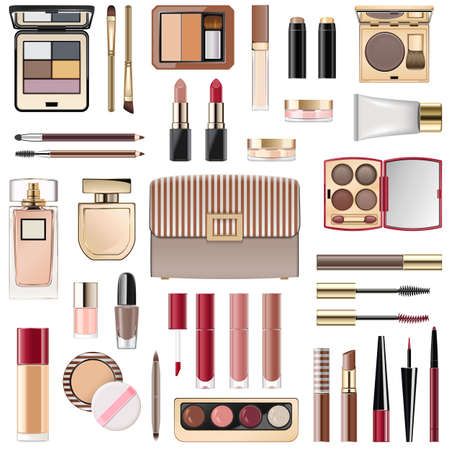 Vector Fall Makeup Collection isolated on white background Ilustração