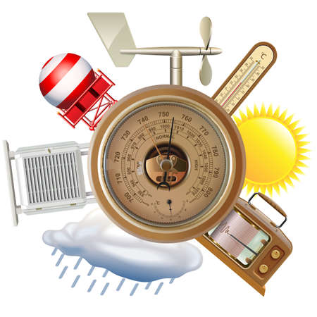 Vector Meteorological Equipment Concept with Barometer isolated on white background Ilustração