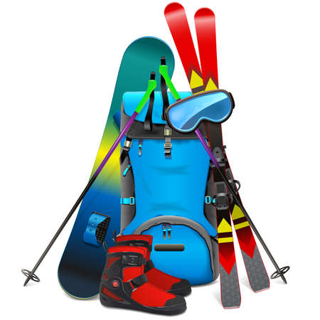 Vector Ski Travel Concept with Rucksack isolated on white background