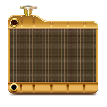 Vector Brass Car Radiator Icon isolated on white background Ilustração