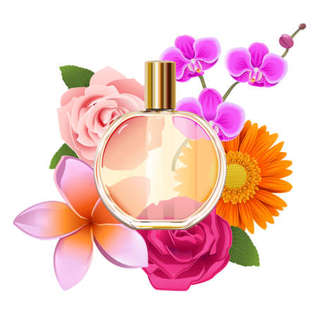 Vector Perfume with Flowers isolated on white background Ilustração