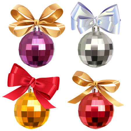 Vector Christmas Ball with Bow isolated on white background Ilustração