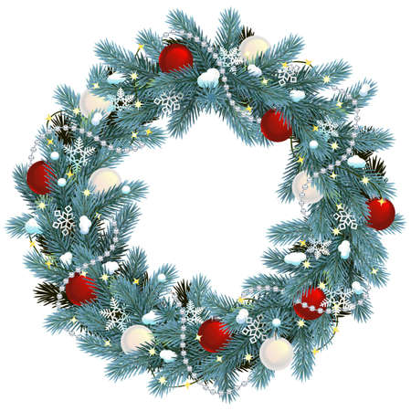 Vector Christmas Blue Fir Wreath isolated on white background Ilustração