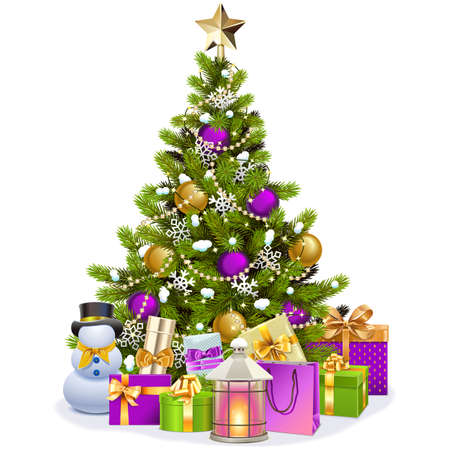 Vector Snowy Christmas Tree with Purple Decorations isolated on white background Ilustração
