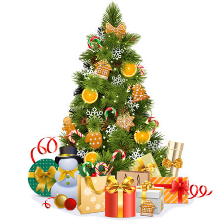 Vector Christmas Pine Tree with Sweet Decorations isolated on white background Ilustração