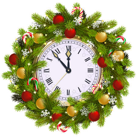 Vector Christmas Fir Wreath with Clock isolated on white background Ilustração