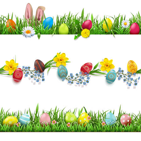 Vector Easter Borders Set isolated on white background Illustration