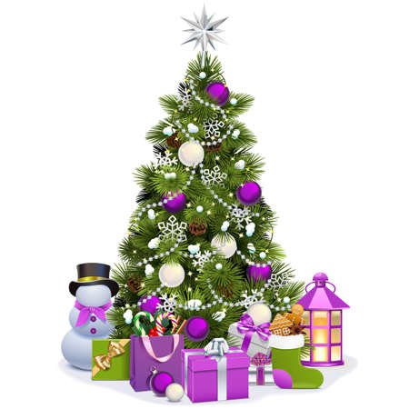 Vector Snowy Christmas Pine with Purple Decorations isolated on white background