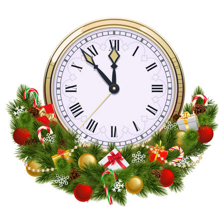Vector Christmas Decoration with Clock isolated on white background