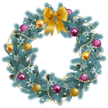 Vector Christmas Blue Fir Wreath with Golden Bow isolated on white background