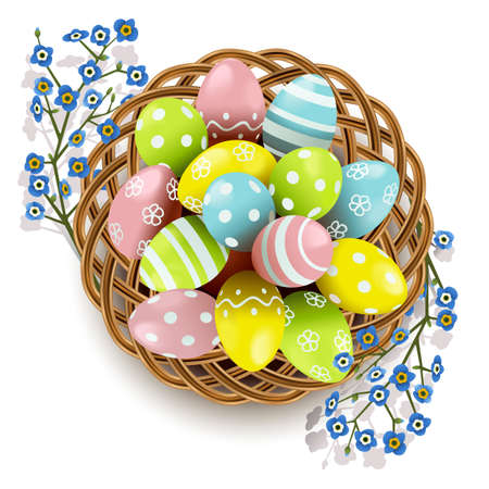Vector Easter Eggs with Wicker Dish isolated on white background Ilustração
