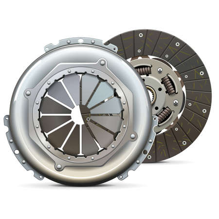 Vector Clutch Cover with Clutch Plate isolated on white background