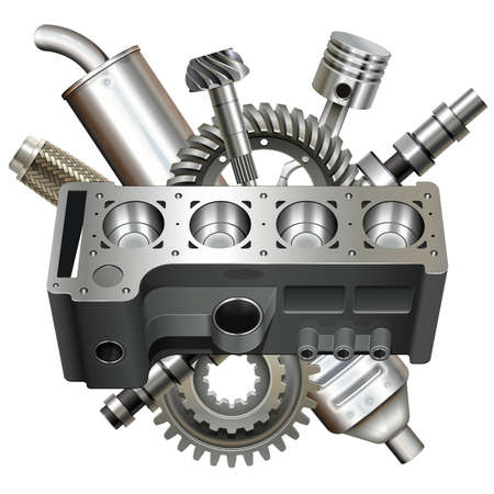 Vector Engine Block with Parts isolated on white background