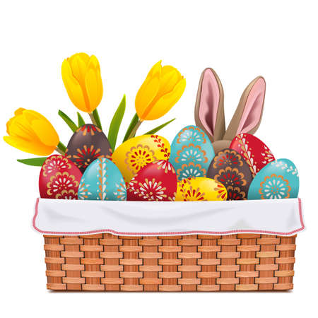 Vector Easter Basket with Painted Eggs isolated on white background