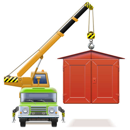 Vector automobile garage with crane truck on white Illustration