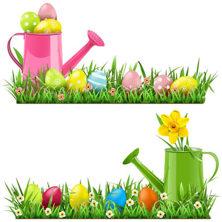Vector Easter Border with Watering Can isolated on white background Illustration