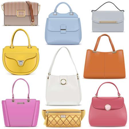 Vector Fashion Female Handbags Set 2 isolated on white background Illustration