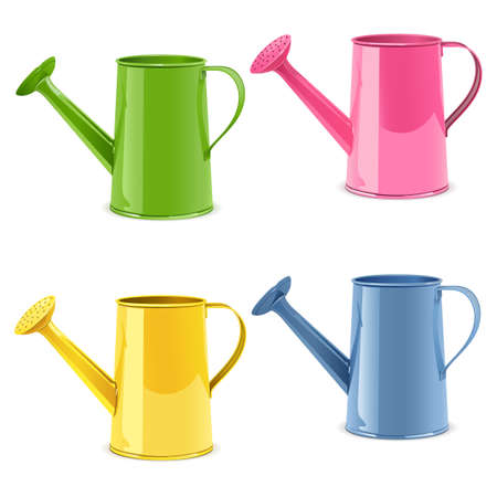 Vector Watering Can Icons isolated on white background Illustration