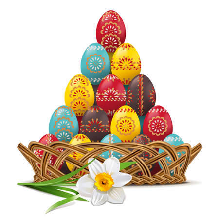 Vector Wicker Dish with Easter Eggs isolated on white background Illustration