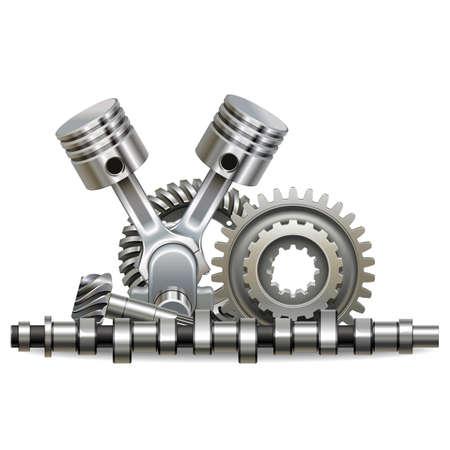 Vector Motor Parts Concept isolated on white background Vektorgrafik