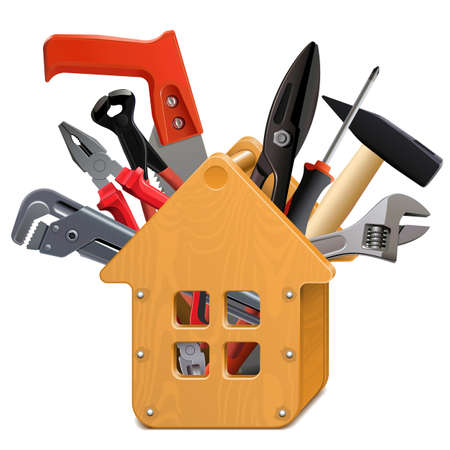 Vector wooden house toolbox with tools on white Illustration