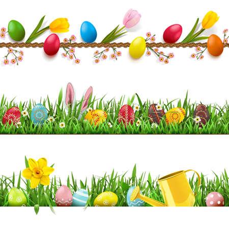 Vector Easter borders set on white Illustration