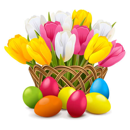 Easter Concept with Wicker Vase Illustration