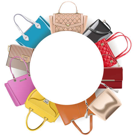 Round Blank Frame with Handbags Illustration