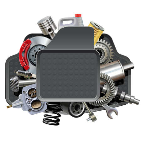 Car Parts with Mats isolated on white Illustration