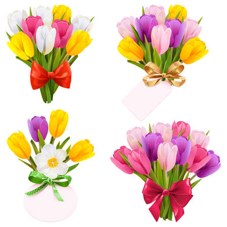 Tulip Bouquet Icons Illustration