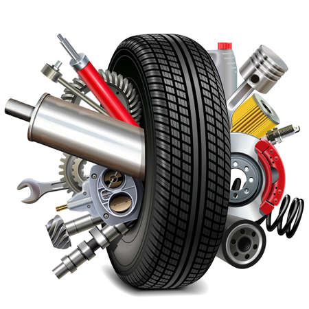 Car Parts with Tire isolated on white Illustration