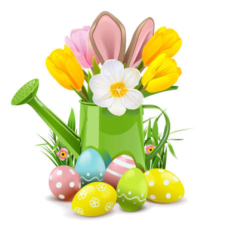 Easter Watering Can with Rabbit
