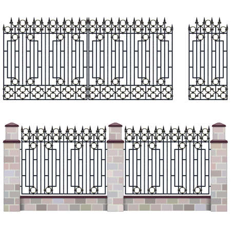 Metal Grill Fence with Gate