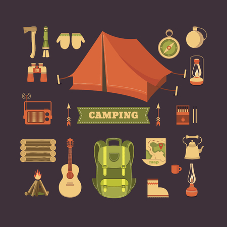 Vector set of equipment for camping